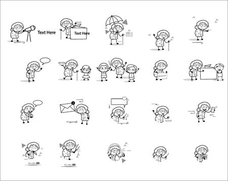 Various Retro Old Grandmother Character - Set of Concepts Vector illustrations