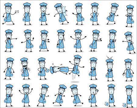 Cartoon Vintage Postman Character Poses - Set of Concepts Vector illustrations