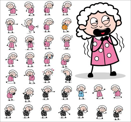Comic Funny Old Granny Character - Set of Concepts Vector illustrations 向量圖像