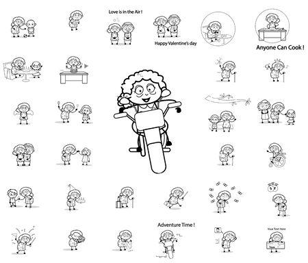 Comic Retro Old Granny - Set of Concepts Vector illustrations