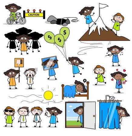 Office Lady Employee - Set of Concepts Vector illustrations Ilustração
