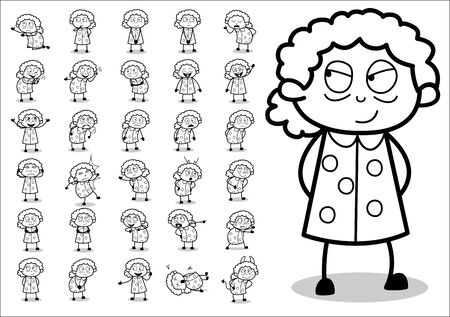 Cartoon Various Retro Old Granny - Set of Concepts Vector illustrations