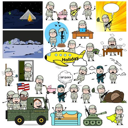 Various Comic Army Man - Set of Concepts Vector illustrations