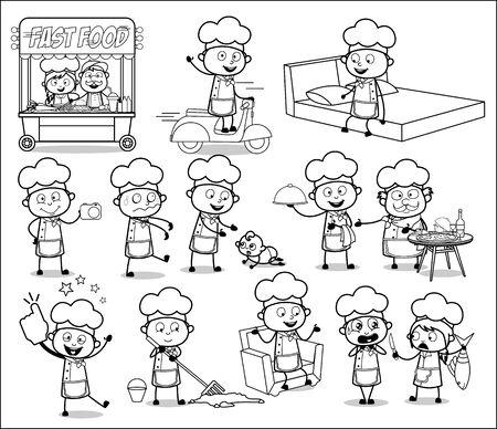 Various Retro Cartoon Chef - Set of Concepts Vector illustrations 일러스트