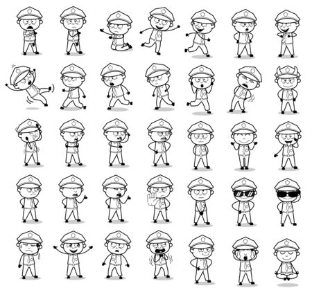 Retro Drawing of Policeman Cop Poses - Set of Concepts Vector illustrations Illustration