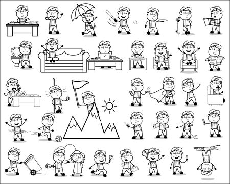 Various Young Carpenter Character - Set of Concepts Vector illustrations