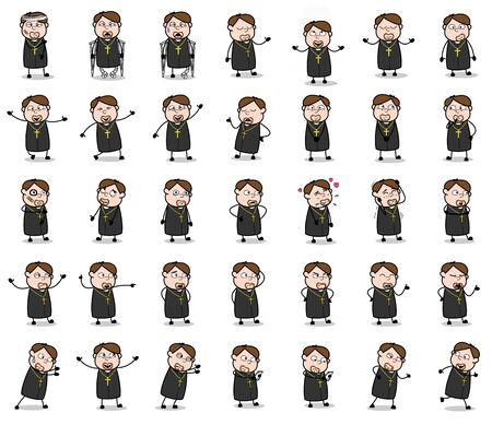 Cartoon Priest Monk Poses - Set of Concepts Vector illustrations