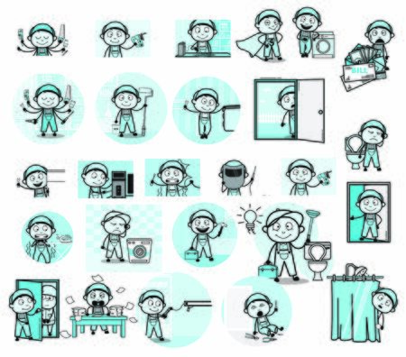 Different Types Comic Repairman Character - Set of Concepts Vector illustrations