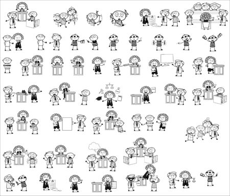 Thief - Set of Black and White Concepts Vector illustrations