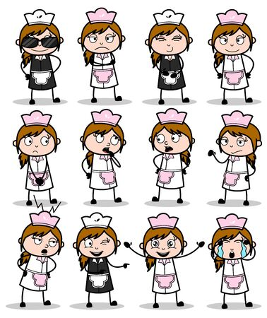 Poses of Comic Waitress - Set of Concepts Vector illustrations