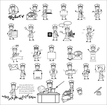 Retro Mailman Character with Many Concepts - Collection of Vector illustrations