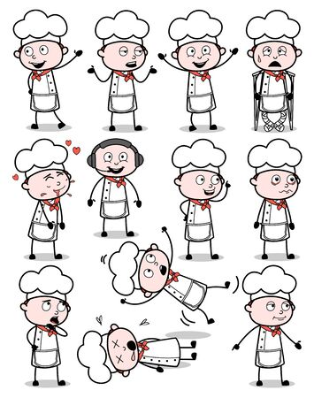 Many Poses of Cartoon Chef - Set of Concepts Vector illustrations Illustration