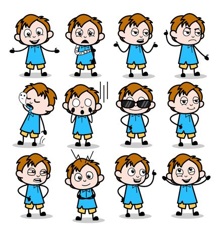Comic Various Office Guy Characters - Set of Concepts Vector illustrations Ilustrace