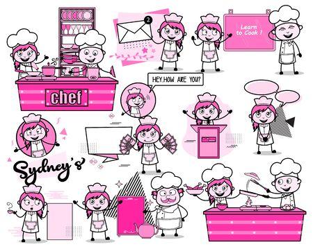 Various Female Comic Waitress - Set of Concepts Vector illustrations