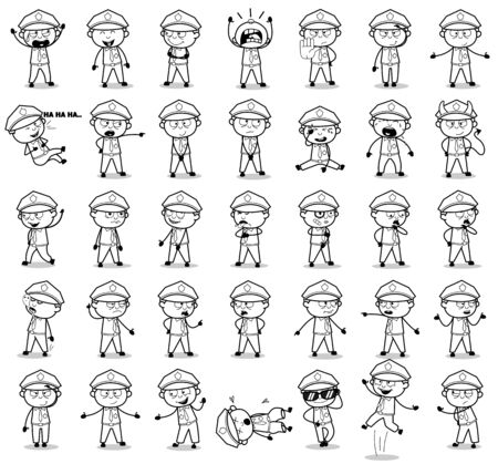 Retro Policeman Cop Poses - Set of Concepts Vector illustrations Ilustrace