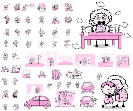 Cartoon Old Granny Character Concepts - Various Vector illustrations