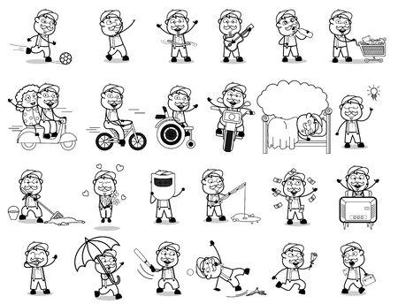 Funny Cartoon Vendor Character - Set of Concepts Vector illustrations