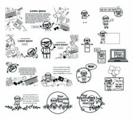 Retro Old Boss with Templates and Concepts - Set of Comic Vector illustrations Stock Illustratie