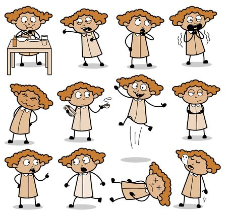 Concepts of Office Lady Poses - Set of Comic Concepts Vector illustrations
