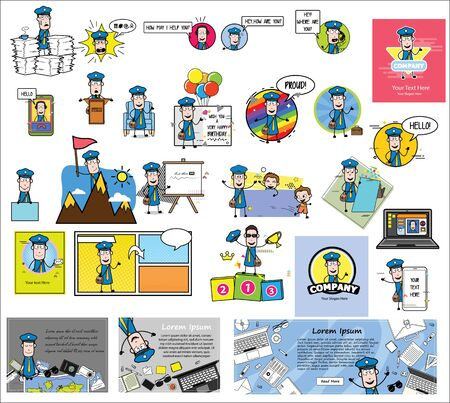 Various Comic Mailman Character Concepts - Set of Retro Vector illustrations Stock Illustratie