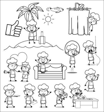 Retro Art of Cartoon Chef - Set of Concepts Vector illustrations Illustration