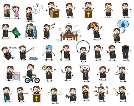 Cartoon Priest Monk - Set of Concepts Vector illustrations Ilustrace