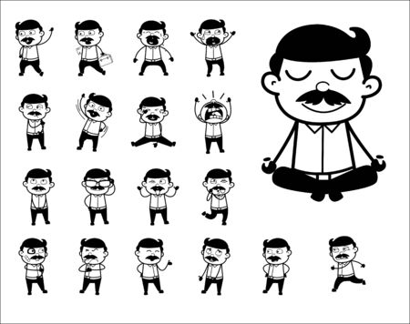 Retro Cartoon Indian Man Poses - Set of Concepts Vector illustrations