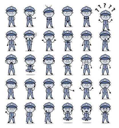 Collection of Vintage Policeman Cop Poses - Set of Concepts Vector illustrations Stock Illustratie