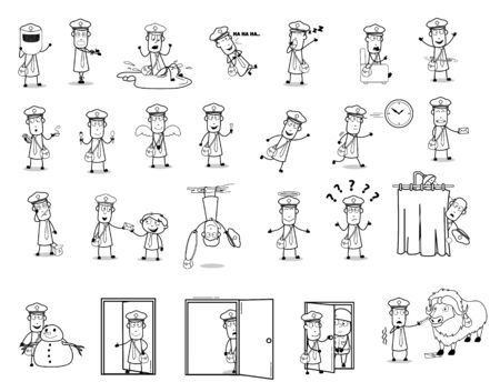 Funny Postman Character Collection - Set of Concepts Vector illustrations