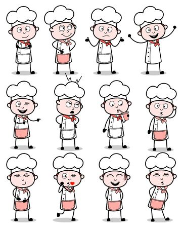 Cartoon Chef Poses Collection - Set of Concepts Vector illustrations