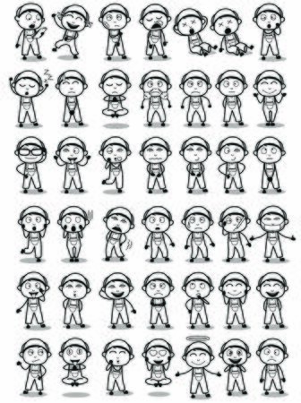 Different Types of Repairman Character Poses - Set of Concepts Vector illustrations