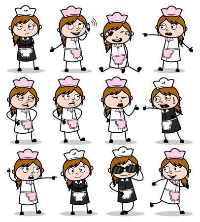 Poses of Cartoon Waitress - Set of Concepts Vector illustrations Illustration