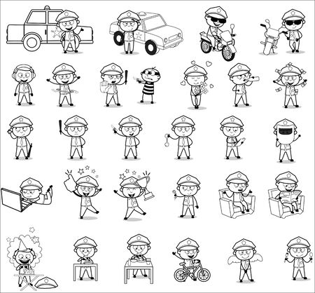 Drawing Art of Policeman Cop Character - Set of Concepts Vector illustrations