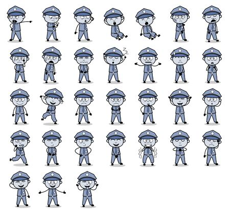 Various Cartoon Policeman Cop Poses - Set of Vintage Concepts Vector illustrations