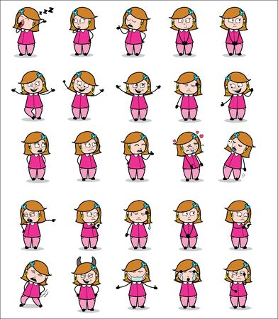 Various Comic Housewife Poses - Set of Concepts Vector illustrations