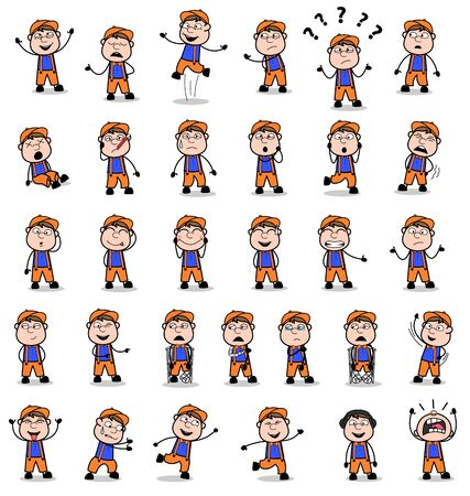 Carpenter Character with Various Poses - Set of Concepts Vector illustrations Illustration