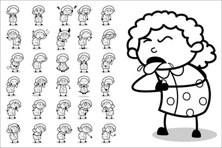 Cartoon Old Funny Granny Character - Set of Concepts Vector illustrations