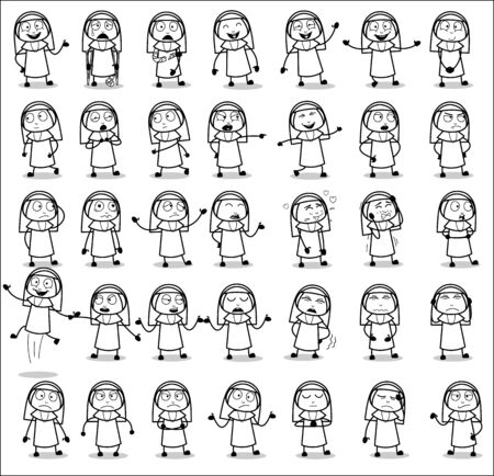 Cartoon Retro Nun Lady Character Poses - Set of Concepts Vector illustrations
