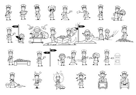 Drawing Art of Comic Postman - Set of Concepts Vector illustrations