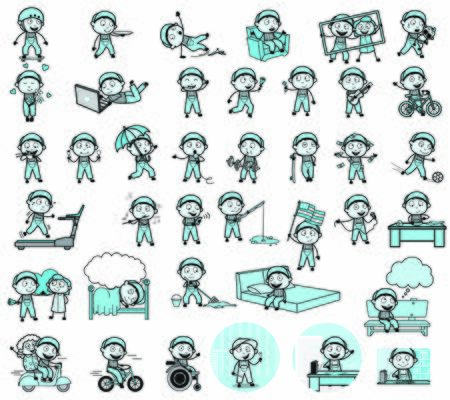 Collection of Vintage Repairman Character - Various Concepts Vector illustrations