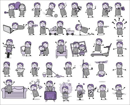 Vintage Cartoon Priest Monk Character - Set of Concepts Vector illustrations