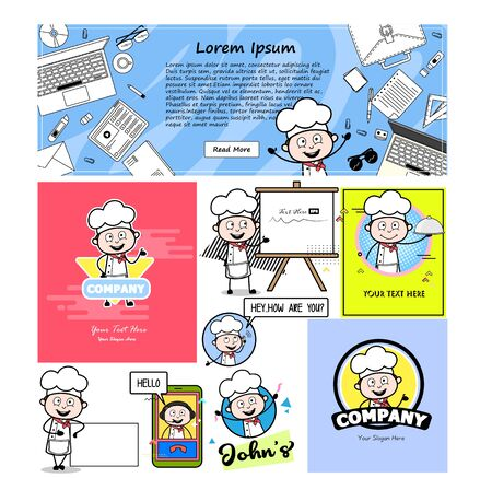 Cartoon Chef with Various Templates - Set of Concepts Vector illustrations