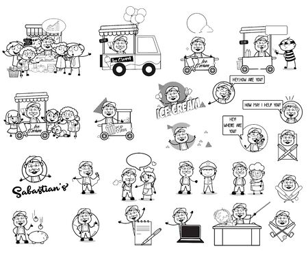 Retro Drawing Concepts of Cartoon Vendor - Set of Concepts Vector illustrations