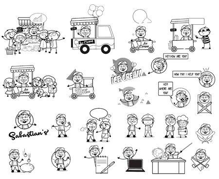Retro Drawing Concepts of Cartoon Vendor - Set of Concepts Vector illustrations
