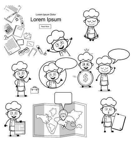Black and White Cartoon Chef Concepts - Set of Retro Vector illustrations Illustration