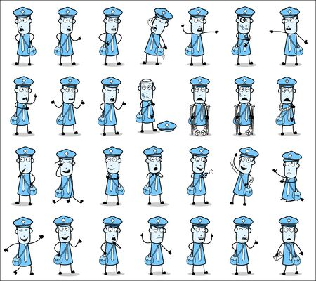 Various Postman Poses - Set of Comic Concepts Vector illustrations Illustration