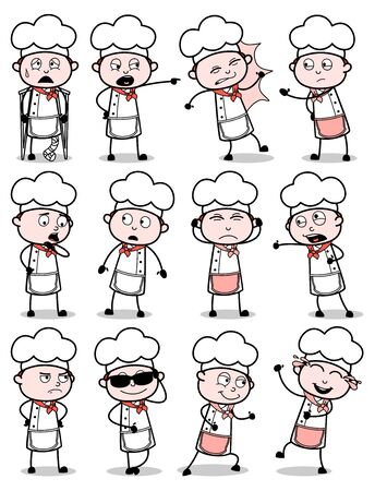 Vintage Comic Chef Poses Collection - Set of Concepts Vector illustrations