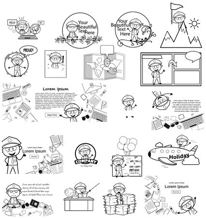 Templates with Retro Cartoon Policeman Cop - Set of Concepts Vector illustrations Ilustrace