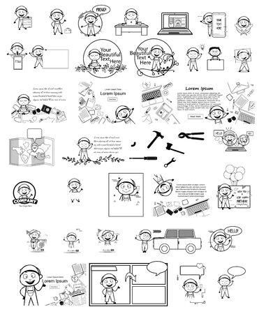 Various Cartoon Repairman Character - Different Retro Concepts Vector illustrations
