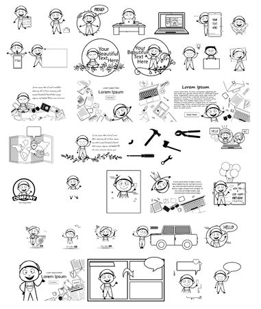 Various Cartoon Repairman Character - Different Retro Concepts Vector illustrations